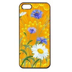 Flowers Daisy Floral Yellow Blue Apple Iphone 5 Seamless Case (black) by Nexatart