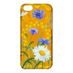 Flowers Daisy Floral Yellow Blue Apple Iphone 5c Hardshell Case by Nexatart