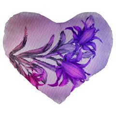 Flowers Flower Purple Flower Large 19  Premium Heart Shape Cushions by Nexatart