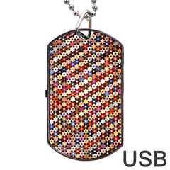 Mosaic Pattern Quilt Pattern Dog Tag Usb Flash (two Sides) by paulaoliveiradesign