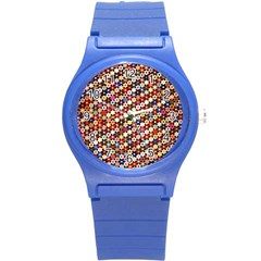 Mosaic Pattern Quilt Pattern Round Plastic Sport Watch (s) by paulaoliveiradesign