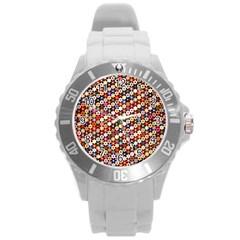 Mosaic Pattern Quilt Pattern Round Plastic Sport Watch (l) by paulaoliveiradesign