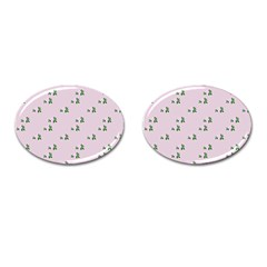 Pink Flowers Pink Big Cufflinks (oval) by snowwhitegirl