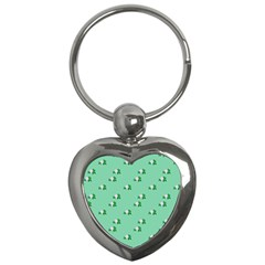Pink Flowers Green Big Key Chains (heart)  by snowwhitegirl