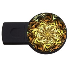 Fractal Flower Petals Gold Usb Flash Drive Round (4 Gb) by Nexatart
