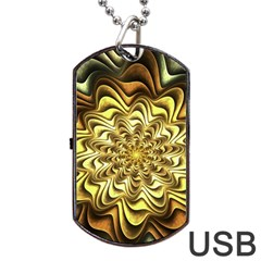 Fractal Flower Petals Gold Dog Tag Usb Flash (two Sides) by Nexatart