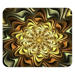 Fractal Flower Petals Gold Double Sided Flano Blanket (small)  by Nexatart