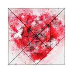 Flower Roses Heart Art Abstract Acrylic Tangram Puzzle (6  X 6 ) by Nexatart