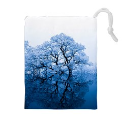 Nature Inspiration Trees Blue Drawstring Pouches (extra Large) by Nexatart