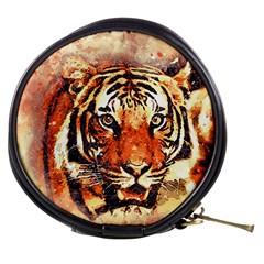 Tiger Portrait Art Abstract Mini Makeup Bags by Nexatart