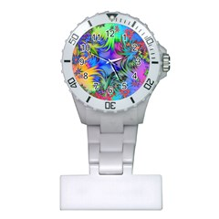 Star Abstract Colorful Fireworks Plastic Nurses Watch