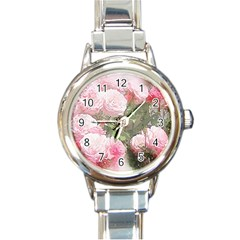 Flowers Roses Art Abstract Nature Round Italian Charm Watch by Nexatart