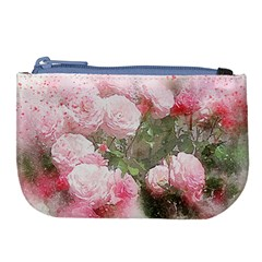 Flowers Roses Art Abstract Nature Large Coin Purse by Nexatart