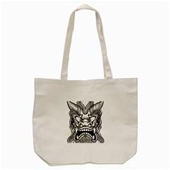 Japanese Onigawara Mask Devil Ghost Face Tote Bag (cream) by Alisyart