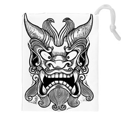 Japanese Onigawara Mask Devil Ghost Face Drawstring Pouches (xxl) by Alisyart