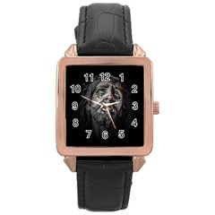 Jesuschrist Face Dark Poster Rose Gold Leather Watch  by dflcprints