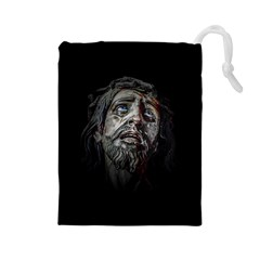 Jesuschrist Face Dark Poster Drawstring Pouches (large)  by dflcprints