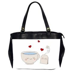 Cute Tea Office Handbags (2 Sides)  by Valentinaart