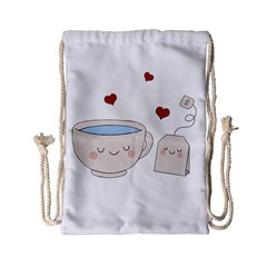 Cute Tea Drawstring Bag (small) by Valentinaart