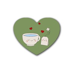 Cute Tea Heart Coaster (4 Pack)  by Valentinaart