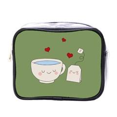 Cute Tea Mini Toiletries Bags by Valentinaart