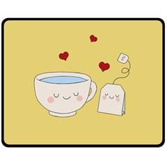 Cute Tea Double Sided Fleece Blanket (medium)  by Valentinaart