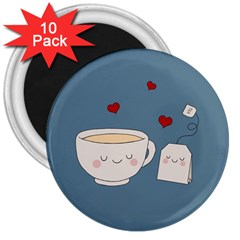 Cute Tea 3  Magnets (10 Pack)
