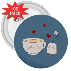 Cute Tea 3  Buttons (100 Pack)  by Valentinaart