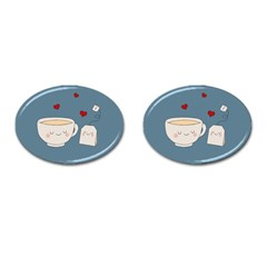 Cute Tea Cufflinks (oval) by Valentinaart