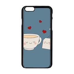 Cute Tea Apple Iphone 6/6s Black Enamel Case by Valentinaart