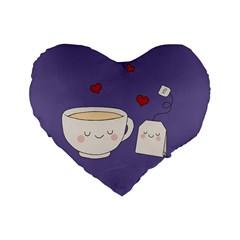 Cute Tea Standard 16  Premium Heart Shape Cushions by Valentinaart