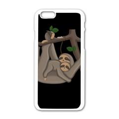 Cute Sloth Apple Iphone 6/6s White Enamel Case by Valentinaart