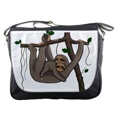 Cute Sloth Messenger Bags by Valentinaart