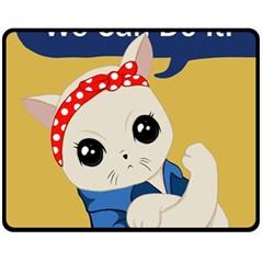 Feminist Cat Fleece Blanket (medium)  by Valentinaart