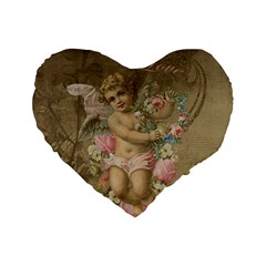 Cupid   Vintage Standard 16  Premium Flano Heart Shape Cushions by Valentinaart