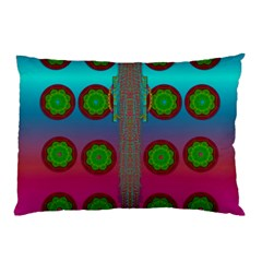 Meditative Abstract Temple Of Love And Meditation Pillow Case by pepitasart
