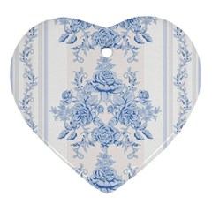 Beautiful,pale Blue,floral,shabby Chic,pattern Ornament (heart) by 8fugoso