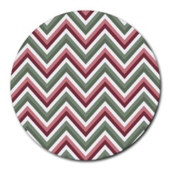 Chevron Blue Pink Round Mousepads by vintage2030