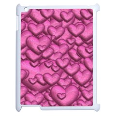 Shimmering Hearts Pink Apple Ipad 2 Case (white) by MoreColorsinLife