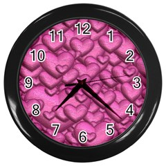 Shimmering Hearts Pink Wall Clocks (black) by MoreColorsinLife