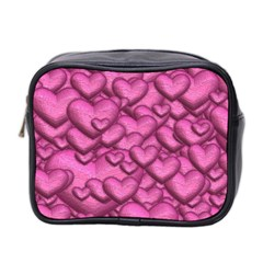 Shimmering Hearts Pink Mini Toiletries Bag 2 Side by MoreColorsinLife