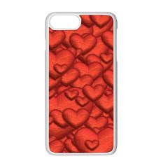 Shimmering Hearts Deep Red Apple Iphone 8 Plus Seamless Case (white) by MoreColorsinLife