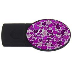 Sparkling Hearts Purple Usb Flash Drive Oval (4 Gb) by MoreColorsinLife