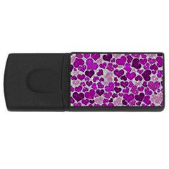 Sparkling Hearts Purple Rectangular Usb Flash Drive by MoreColorsinLife