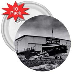 Omaha Airfield Airplain Hangar 3  Buttons (10 Pack)  by Nexatart