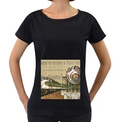 Train Vintage Tracks Travel Old Women s Loose Fit T Shirt (black) by Nexatart