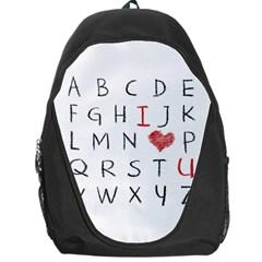 Love Alphabet Backpack Bag by Valentinaart