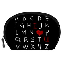 Love Alphabet Accessory Pouches (large)  by Valentinaart