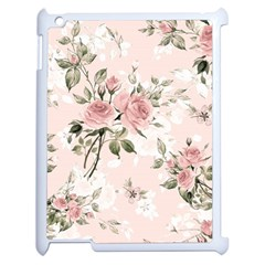 Pink Shabby Chic Floral Apple Ipad 2 Case (white) by 8fugoso