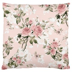 Pink Shabby Chic Floral Large Flano Cushion Case (two Sides) by 8fugoso